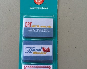 Garment Care Labels for Hand Crafted Garments and Quilts, Size 1 3/4 x 1 1/4, Patches, Tags, Dry Flat, Hand Wash, Crafted By