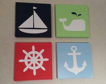 4 Piece Nautical Canvas Art