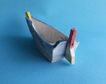 Blue Boat, Ceramic Boat, Small Boat, Boat Gift, Boat Art, Fishing Boat, Greek Boat, Nautical Decor, Sea Decor, Greek Gift, Island Decor.