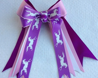 Pony Horse Show Bows/ Leadline, Short Stirrup/Hair Accessory/ Pink and Purple