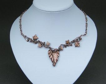 Bohemian leaf necklace ~ Ivy leaf necklace ~ Statement boho necklace ~ Leaf necklace ~ Leaf jewelry ~ Nature inspired gift for her ~ Boho