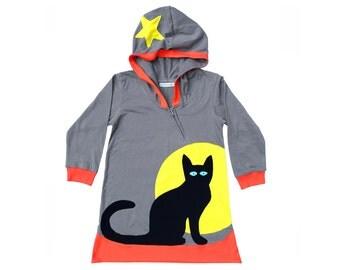 Black Cat Hoodie Dress