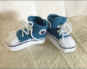 Baby Chucks, Baby Converse, Knitted Baby Booties