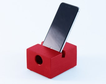 iPhone wooden speaker and dock in red ash wood