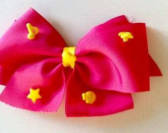 Shocking Pink & Yellow Bow