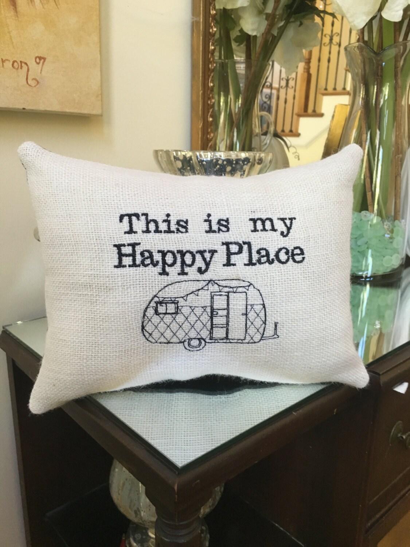 My Happy Place Camper Decor Rv Throw Pillow Retro Rv Vintage