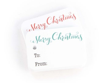 Merry Christmas Gift Tags - 36pk, Green and Red Merry Christmas Gift Wrap Tags (RR-111)