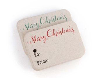 Merry Christmas Gift Tags - 36pk, Kraft Brown Tags with Green and Red Merry Christmas for Gifts (RR-111-KR)