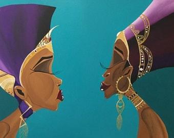 """Black Art/African American Art """"A Queens Reflection"""" 24x30 Original Art"""