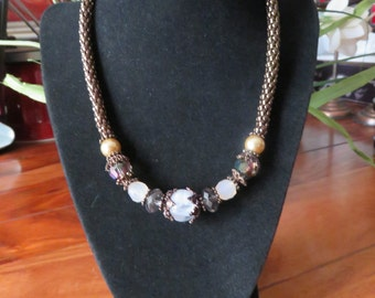 Beautiful Vintage Copper Coated Chain Accented With Gorgeous Beads Necklace