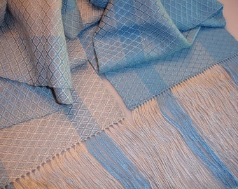 Hand woven Scarf, scarves, handwoven scarf, handwoven scarves, loom woven scarf, handmade scarf, Tencel scarves, blue scarves