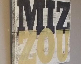 MIZZOU ! Reclaimed cedar wood sign. Show your MU school spirit