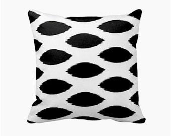 Black Pillow Cover Black Ikat Pillow Black Throw Pillow Cover Monochrome Pillow Monochrome Decor Monochrome Nursery Pillow Decorative Pillow