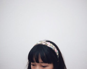 Embroidered Pastel Floral Headband
