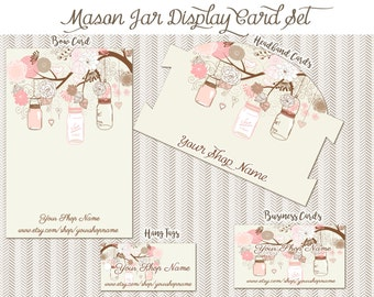 Mason Jar 100 Display cards 4 different designs 25 of each PRINTED for you, You pick weight