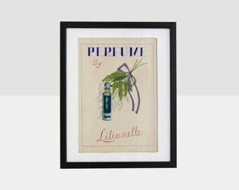 original advertising painting, original lilianelle perfume advertising painting, advertising painting, lilianelle perfume original art