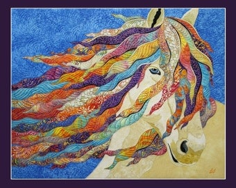 Card Textile Art with Horse (C04)