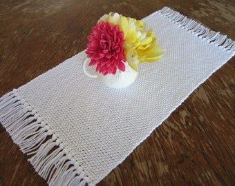 Rustic Hand Woven Table Runner ~ Lovely White Color ~ Made of Pure Cotton ~ With Fringe