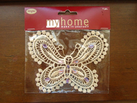 50% OFF Sale ~ New In Package ~ Wrights Brand Butterfly Applique ~ Cream Colored Butterfly With Sewn On Faux Jewels