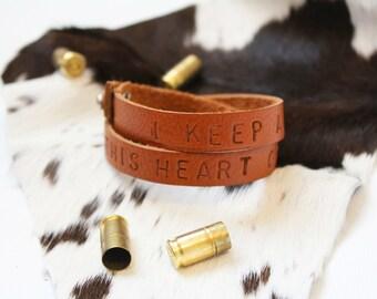 I Keep a Close Watch on This Heart of Mine- Johnny Cash - Leather Wrap Custom Bracelets