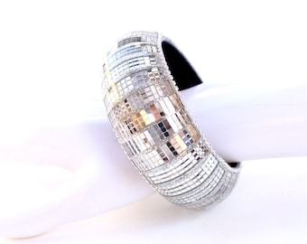 Mirrorball cuff bangle. Disco mirrorball bangle, helping you remember the disco 70s and 80s. Disco Jewellery.