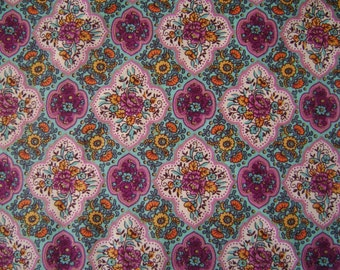 Purple Floral Cotton Fabric Sold by the Yard