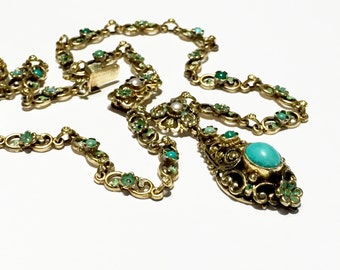 Vintage Austro Hungarian blue Turquoise sterling silver gold gilt turquoise necklace