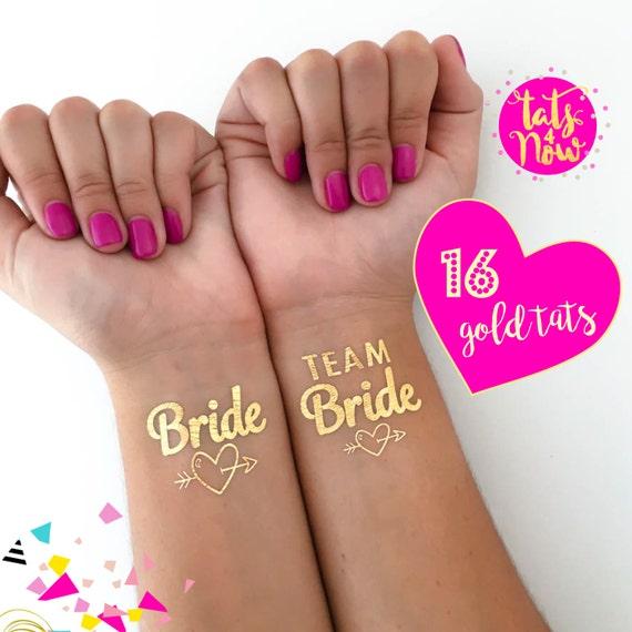 Team Bride gold heart set of 16