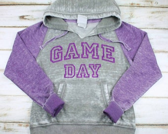 Game Day Acid Washed Hoodie Football Sweatshirt Sports