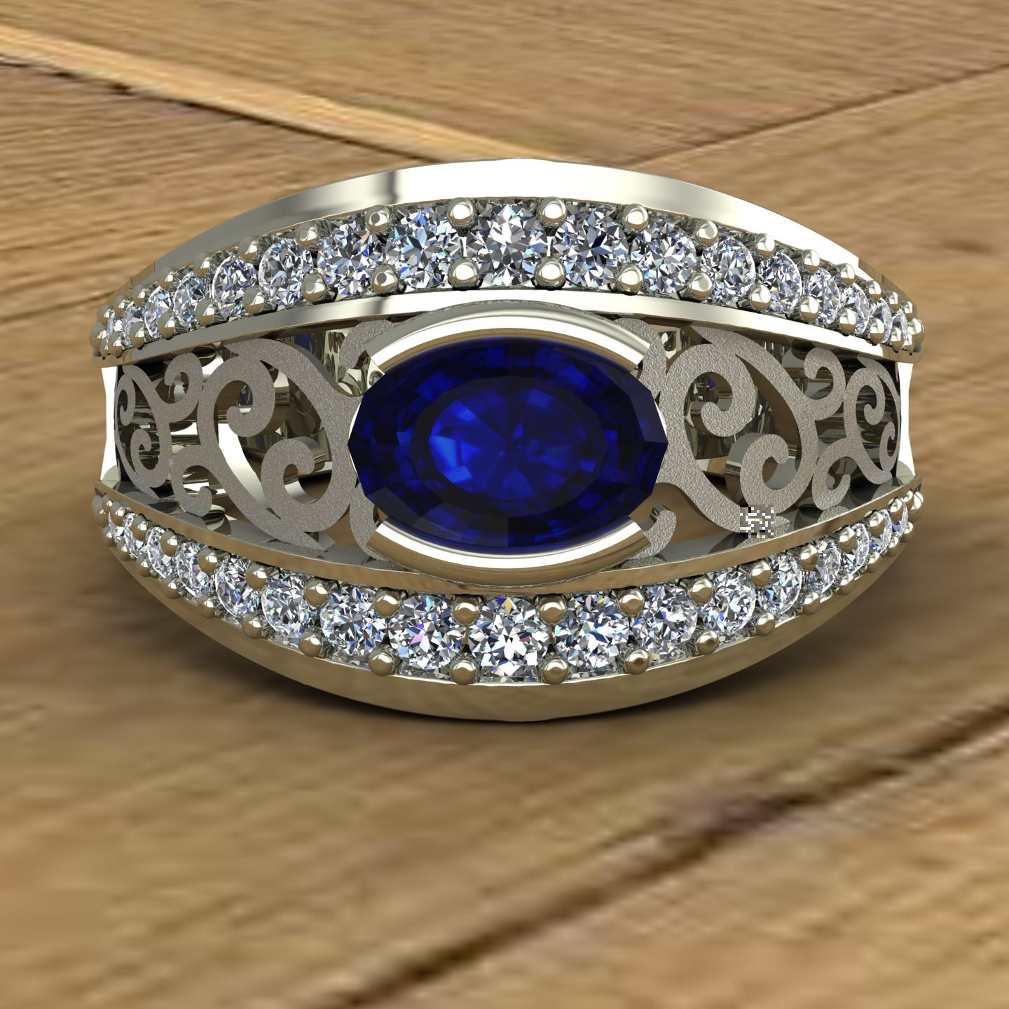 Blue Sapphire Ring Sideways Oval East West Setting