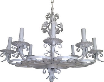 Lacquered Wrought Iron Chandelier