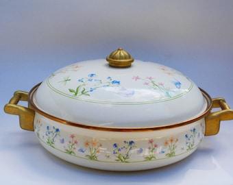 Enamel Casserole , Brass Handles, Enamel Cookware, Casserole Pot , Enamel Brass Handles, Brass Handles Cookware, Vintage Kitchen , Basics