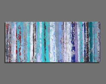 Abstract painting, Original painting, Modern, Horizontal painting 30,5x70,5 cm / 12x27,8 inches Blue, green, purple