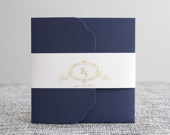 Navy and Gold Wedding Invitations, Navy, Gold, Pocket Invitations, Pocketfold, DEPOSIT to get started