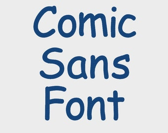 "Comic Sans Embroidery Font in 6 Sizes (0.25"", 0.5"", 0.75"", 1"", 1.5"" & 2"") upper and lower case + numbers - INSTANT DOWNLOAD -  Item #1086"