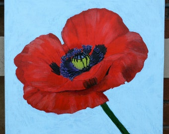 Poppy red poppies spring floral japanese poppy painting original acrylics