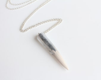 Sterling Silver White Polymer Clay Spike Pendant Silver Necklace Chain