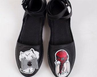 3D Kitty Sandals (Red+Black+White)