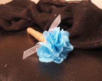 Light Blue Flower Wedding Guest Book Pen, Rustic Wedding Pen, Shabby Chic Wedding Pen, Burlap Flower Pen, Wedding Pen, Wedding Sharpie