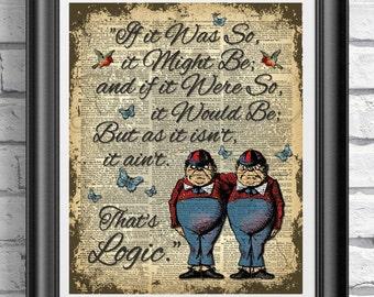 Alice in Wonderland Tweedle Dee Tweedle Dum, Book Page Art Print, Mixed Media Print, Dictionary Book Page, Wedding Decor