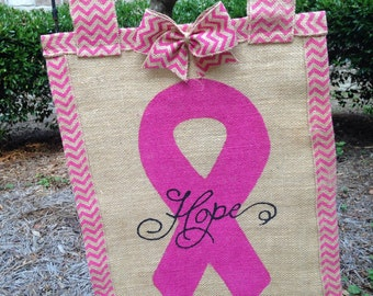 Burlap Breast cancer garden flag