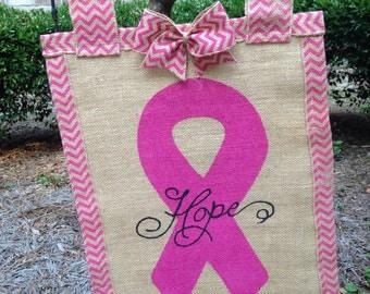 Burlap Breast cancer garden flag
