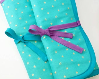 Mermaid Brush Roll, Makeup Brush Roll, Ready to Ship