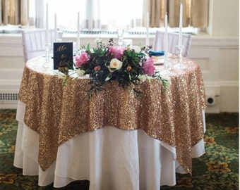 Gold Sequin tablecloth, Sequin tablecloth, Gold Sequin overlay, weddings receptions, bridal shower, cake table covering, Sweetheart table