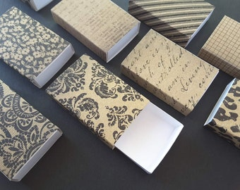 Assorted kraft patterns matchboxes/ Slide box/ Jewelry Packaging Boxes/ Gift box/ Packaging box/ Party favor box/ Set of 12