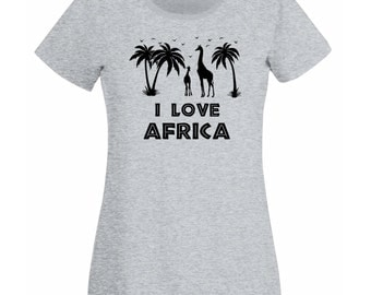 Womens T-Shirt with Palms, Birds & Giraffes Silhouettes Design / Giraffe Quote I Love Africa Shirts + Free Decal Gift