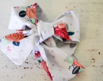 Baby headband; Rosie Wrap-headwrap; light grey floral fabric head wrap; newborn headband; baby headband; toddler headband; adult headband;