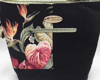 Large Handbag, Shoulder Bag, Bucket Bag, Purse in Tropical Floral with Shoulder Strap - Made in Maui