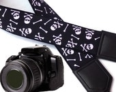 Black and white skulls camera strap. Crossbones. Halloween camera strap. DSLR and SLR Camera Strap. Personalized gifts by InTePro