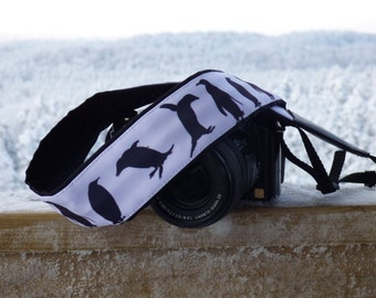 Penguins camera strap. DSLR / SLR Camera Strap. Camera accessories. Camera strap for Nikon, Canon, Sony, Panasonic, Fuji and other cameras.